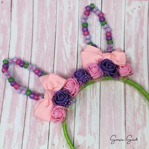 Beaded Bunny Ears Headband Spring Girls Accessory